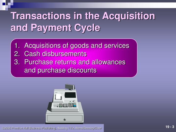 Transactions in the acquisition and payment cycle
