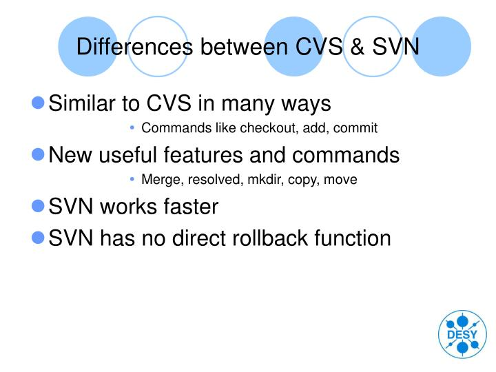 Differences between CVS & SVN