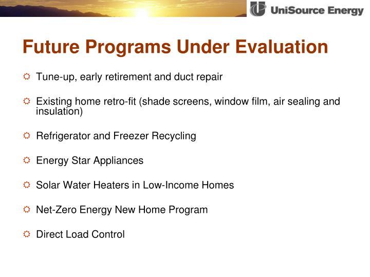 Future Programs Under Evaluation