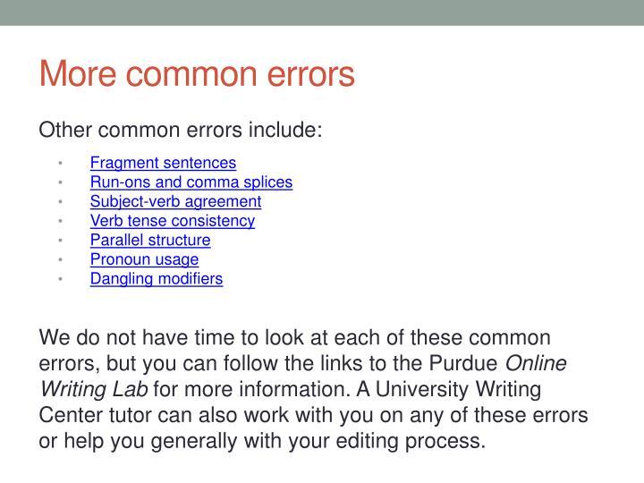 More common errors