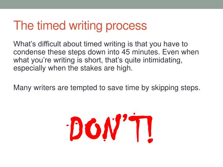 The timed writing process