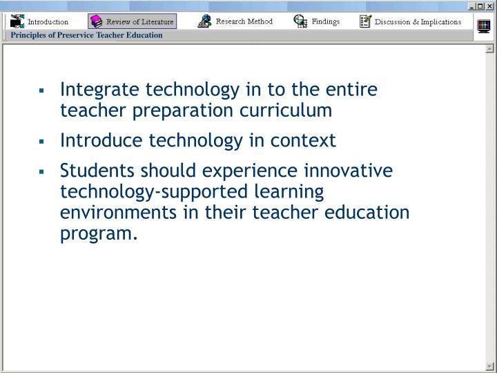 Principles of Preservice Teacher Education