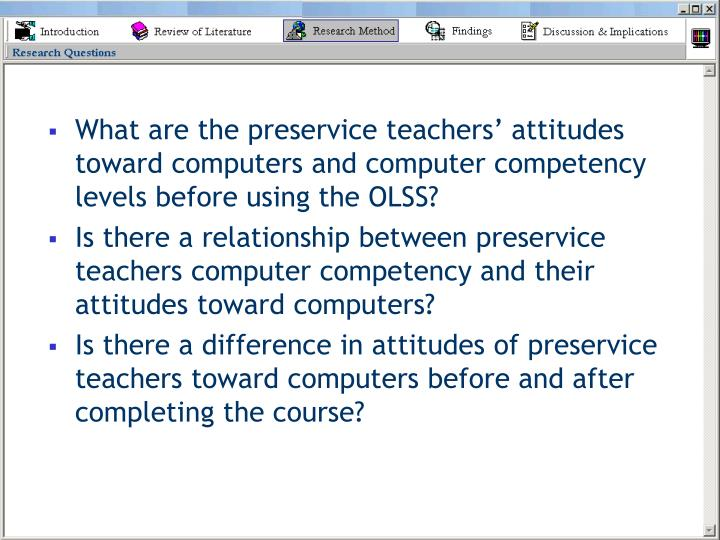 What are the preservice teachers' attitudes toward computers and computer competency levels before using the OLSS?