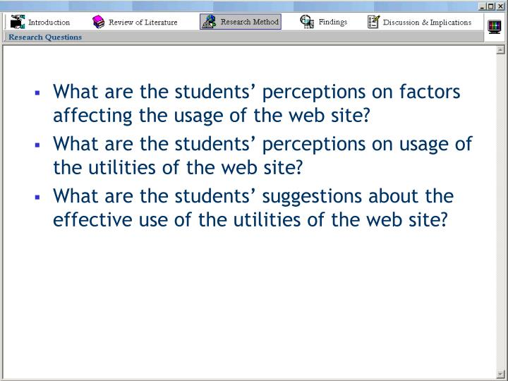 What are the students' perceptions on factors affecting the usage of the web site?