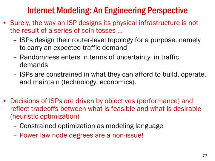 Internet Modeling: An Engineering Perspective