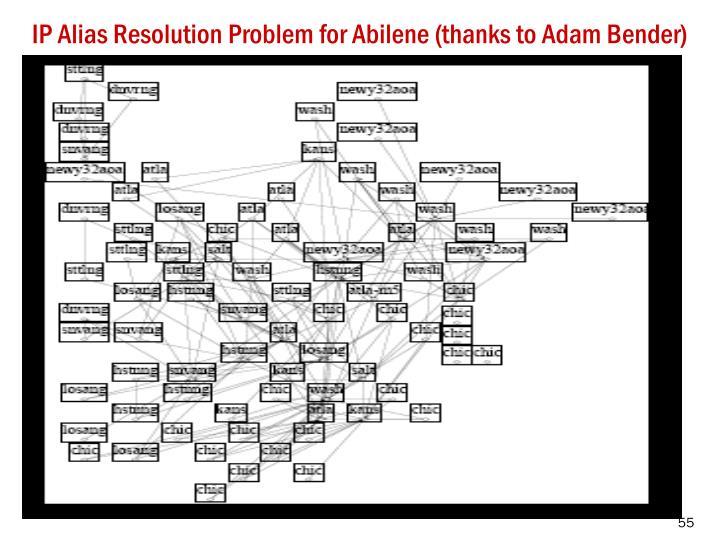 IP Alias Resolution Problem for Abilene (thanks to Adam Bender)