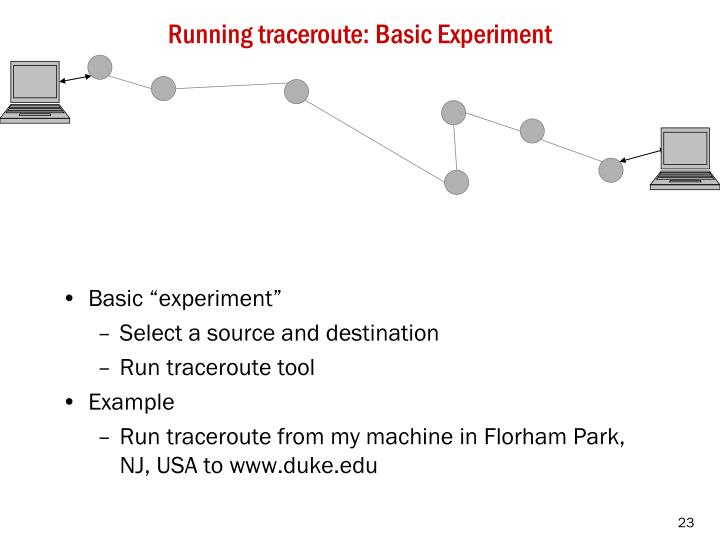 Running traceroute: Basic Experiment