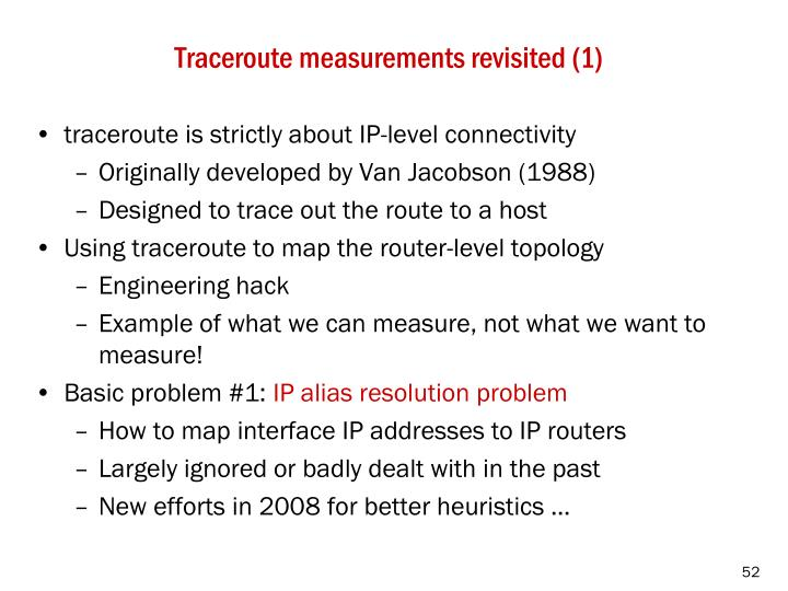 Traceroute measurements revisited (1)