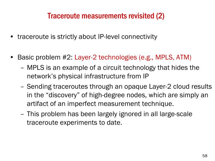 Traceroute measurements revisited (2)