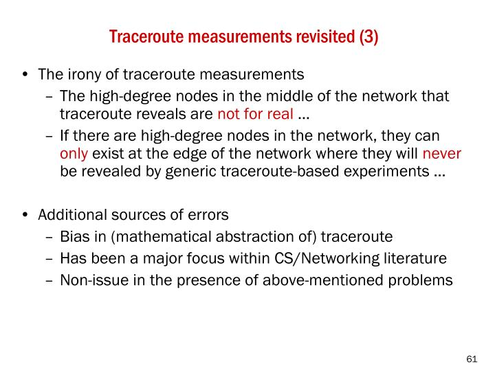 Traceroute measurements revisited (3)
