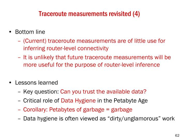 Traceroute measurements revisited (4)