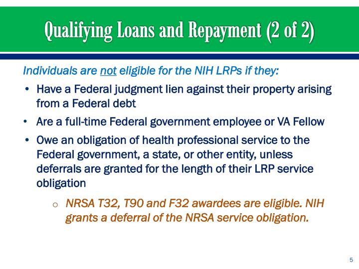 Qualifying Loans and Repayment (2 of 2)