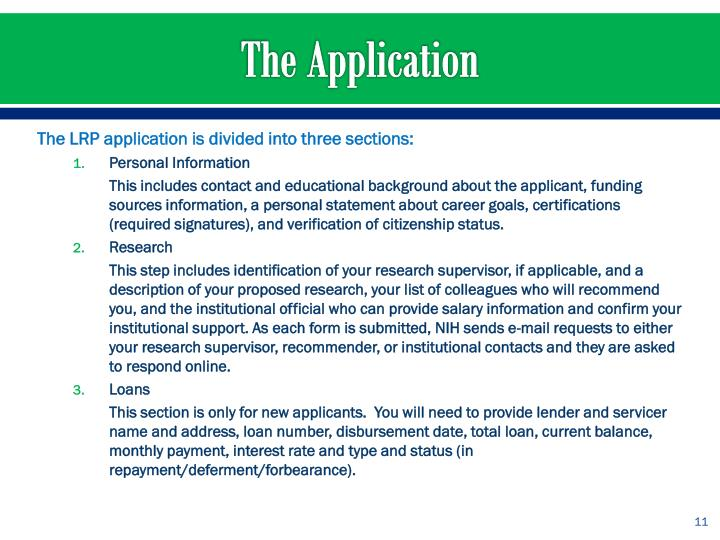 The LRP application is divided into three sections: