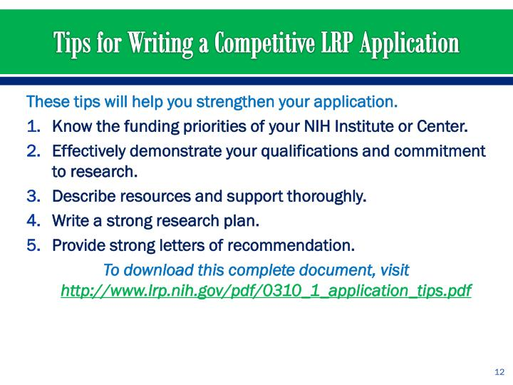 These tips will help you strengthen your application.