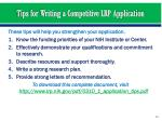 tips for writing a competitive lrp application