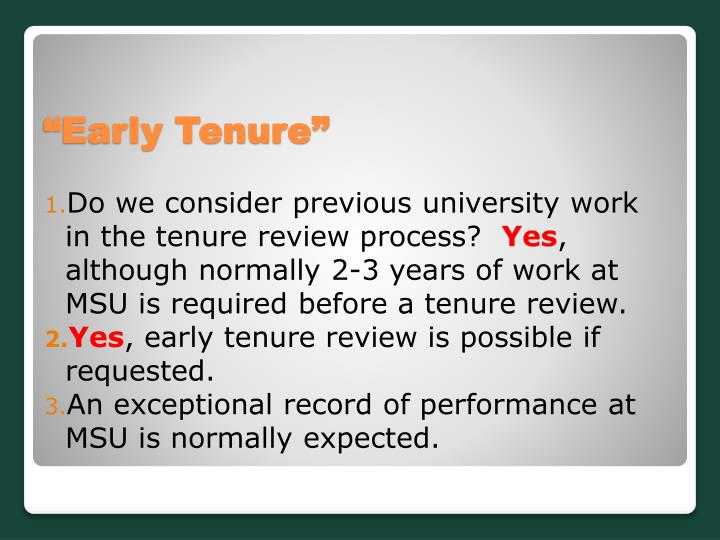 Do we consider previous university work in the tenure review process?