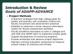 introduction review goals of adapp advance