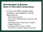introduction review role of fea ahr consortium