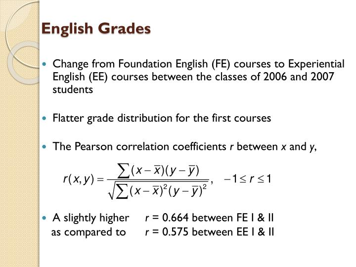 Change from Foundation English (FE) courses to Experiential English (EE) courses between the classes of 2006 and 2007 students