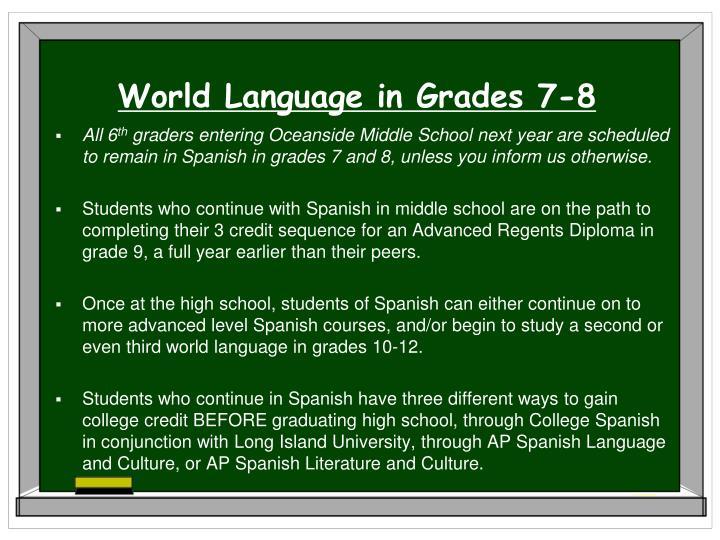 World Language in Grades 7-8