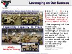 leveraging on our success
