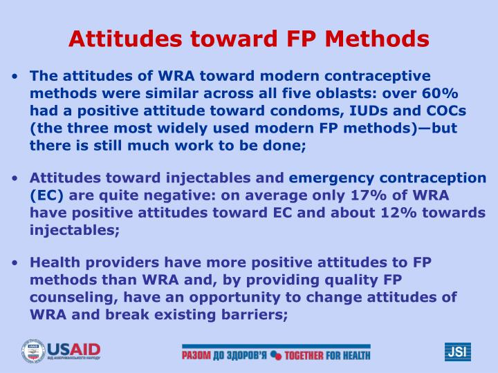 Attitudes toward FP Methods