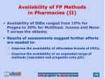 availability of fp methods in pharmacies ii