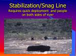stabilization snag line requires quick deployment and people on both sides of river