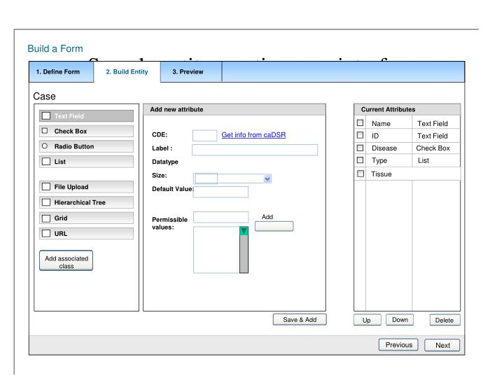 Sample entity creation user interface