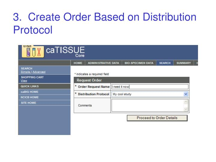 3.  Create Order Based on Distribution Protocol