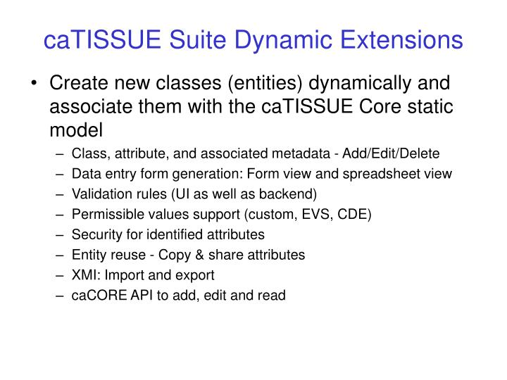 caTISSUE Suite Dynamic Extensions