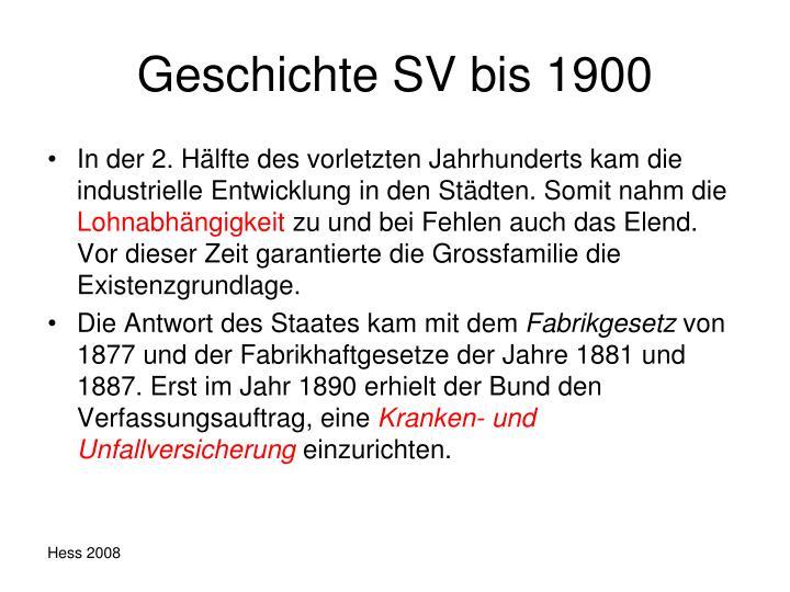 Geschichte SV bis 1900
