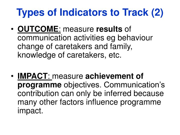 Types of Indicators to Track (2)