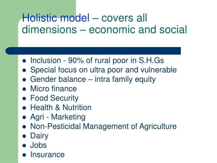 Holistic model covers all dimensions economic and social