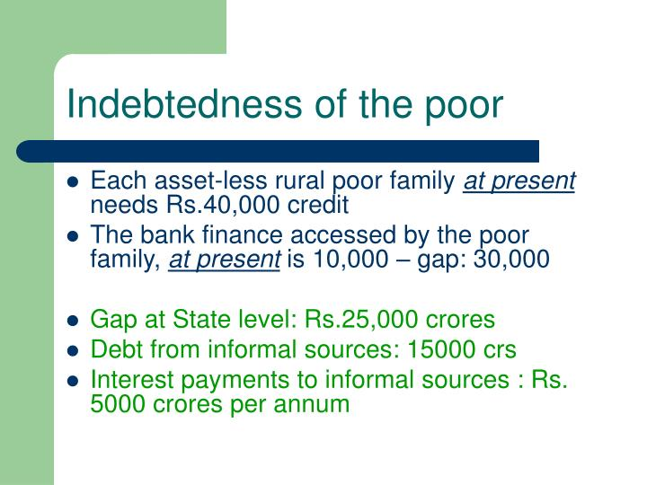 Indebtedness of the poor