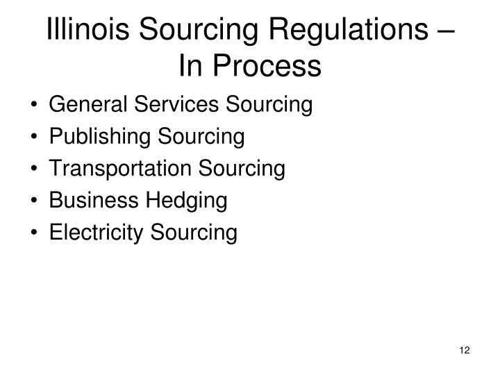 Illinois Sourcing Regulations – In Process