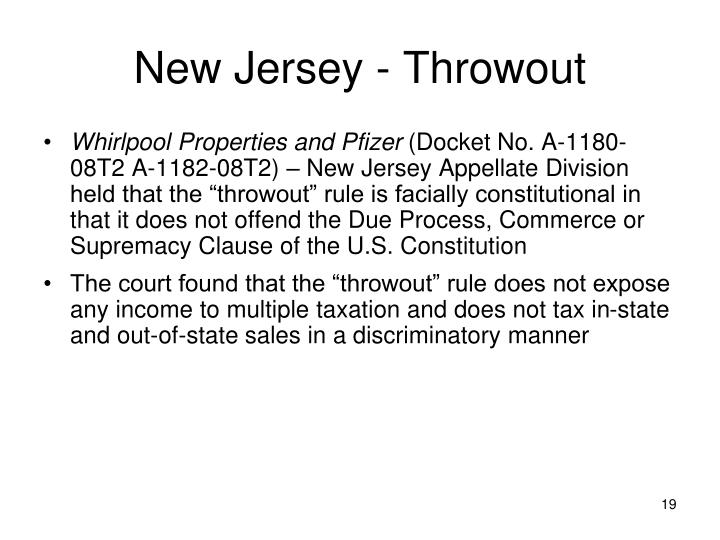 New Jersey - Throwout