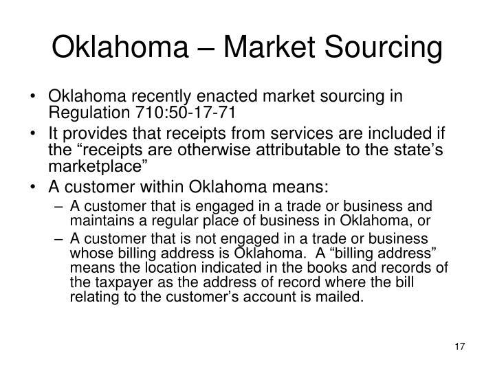 Oklahoma – Market Sourcing
