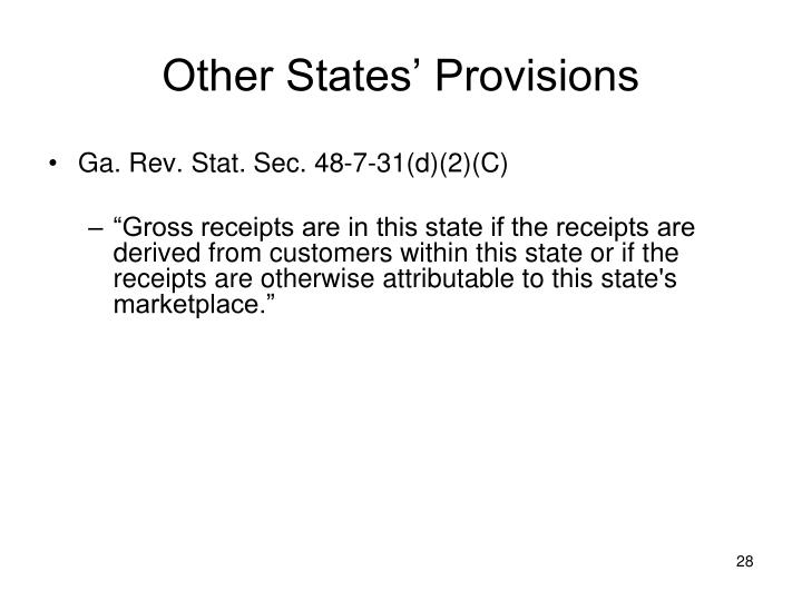 Other States' Provisions