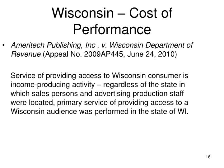 Wisconsin – Cost of Performance