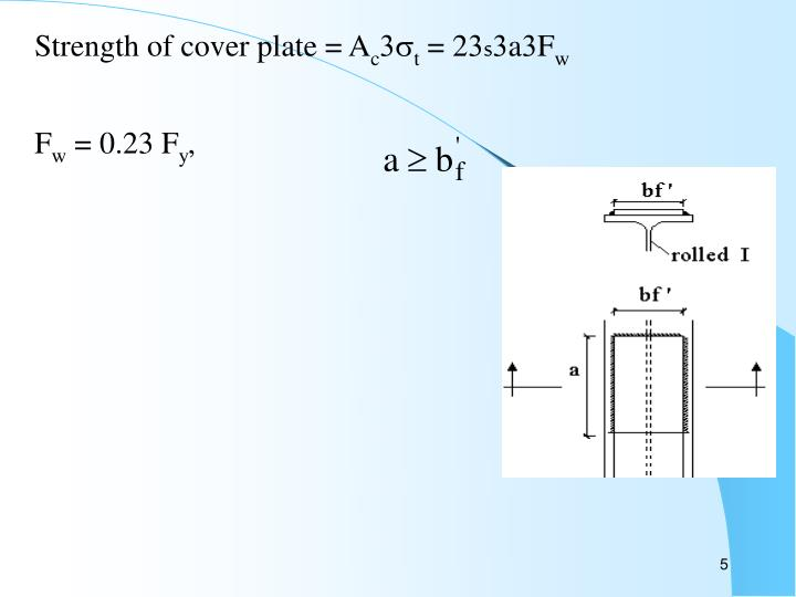 Strength of cover plate = A