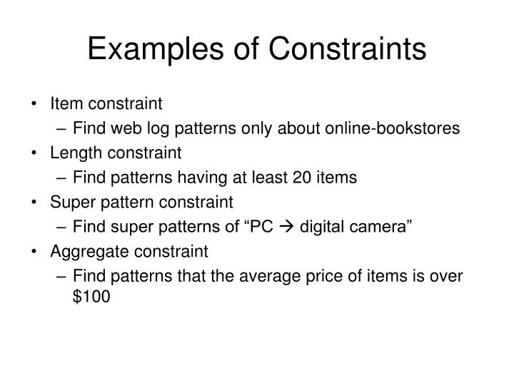 Examples of Constraints