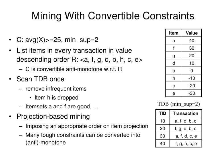 Mining With Convertible Constraints
