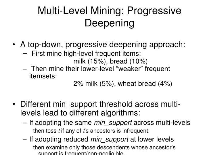 Multi-Level Mining: Progressive Deepening