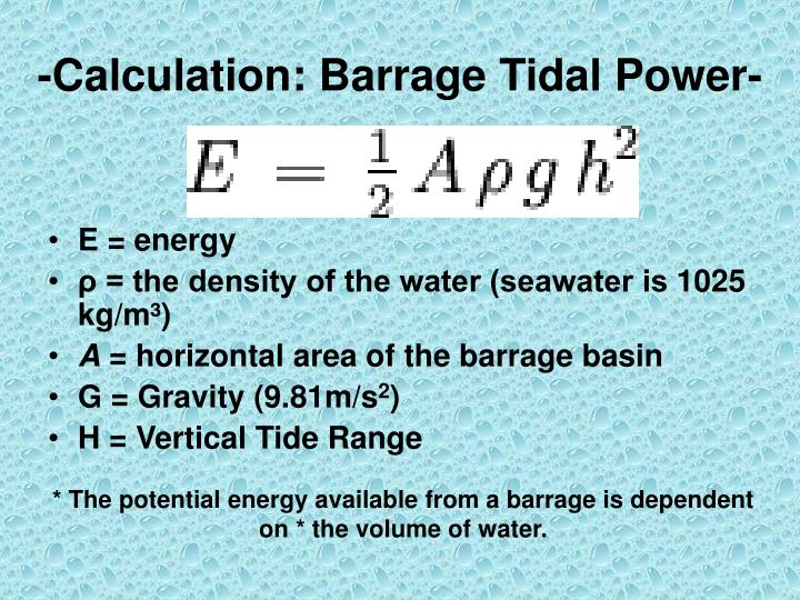 -Calculation: Barrage Tidal Power-