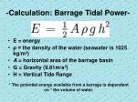 calculation barrage tidal power