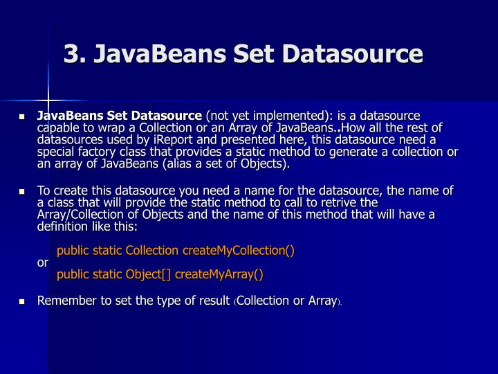 3. JavaBeans Set Datasource