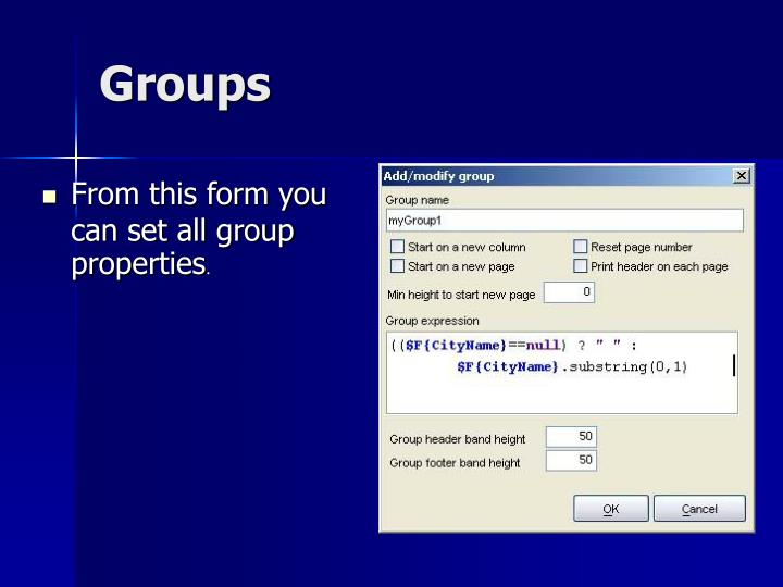 From this form you can set all group properties