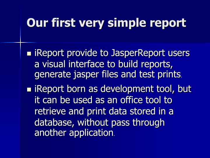 Our first very simple report