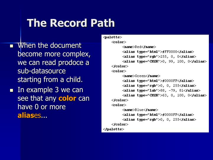 When the document become more complex, we can read prodoce a sub-datasource starting from a child.